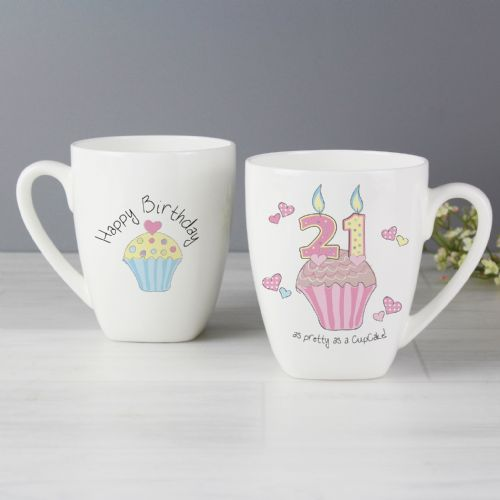 Cupcake Design 21st Birthday Latte Mug - 21st Birthday gift idea
